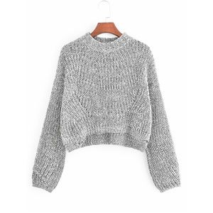 Gray Knit Cropped Jumper